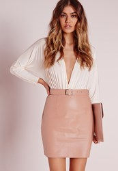 Missguided Buckle Detail Faux Leather Mini Skirt Nude Pink Beige