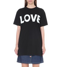 Katherine E Hamnet At Ymc Love Cotton Jersey T Shirt Black W White Print