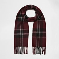 River Island Womens Dark Red Tartan Scarf