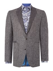Without Prejudice Grey Herringbone Tweed Blazer