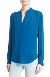 Women's L'agence 'Bianca' Band Collar Silk Blouse Peacock