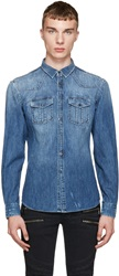 Balmain Blue Distressed Denim Shirt