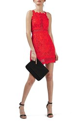 Topshop Women's Lace Detail Sleeveless A Line Dress Coral