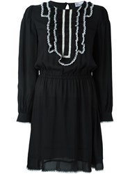 Red Valentino Contrast Ruffled Collar Dress Black