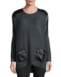 P. Luca Leather Panel Oversized Sweater Charcoal