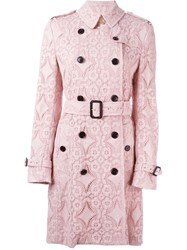 Burberry London Woven Lace Short Trench Coat Pink And Purple