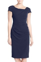 Adrianna Papell Women's Ruched Matte Stretch Crepe Sheath Dress Dusk