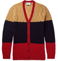 Gucci Colour Block Honeycomb Knit Wool Cardigan Navy