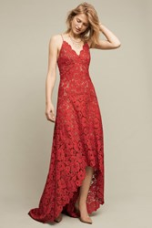Anthropologie Finola Lace High Low Gown Rose