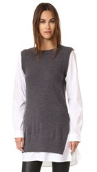 Dkny Pure Poplin Sleeve Tunic Sweater Charcoal Heather White