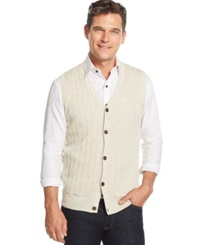 Tasso Elba Big And Tall Cable Front Sweater Vest Only At Macy's Birch