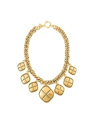 Chanel Vintage Quilted Medallion Necklace Metallic