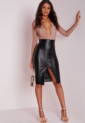 Missguided Faux Leather Slinky Midi Dress Rose Red