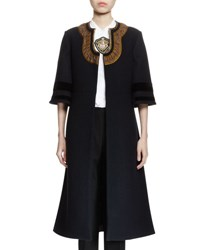 Dries Van Noten Richard 3 4 Sleeve Flared Coat Navy