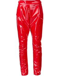 Les Animaux Vinyl Slim Fit Trousers Red