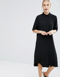 Monki Midi Shirt Dress Black Beige