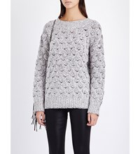 J Brand Camelia Textured Knitted Jumper White Heather