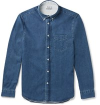 Acne Studios Isherwood Slim Fit Button Down Collar Washed Denim Shirt Blue