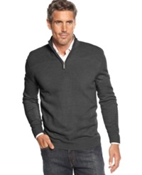 Geoffrey Beene Big And Tall Solid Ribbed Quarter Zip Sweater Graphite Heather