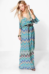 Boohoo Zig Zag Cold Shoulder Maxi Dress Green