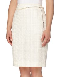 Tahari By Arthur S. Levine Pearl Chain Belt Pencil Skirt Ivory White