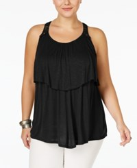 Eyeshadow Plus Size Tiered Lace Back Top Black