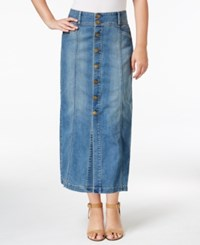 Styleandco. Style Co. Petite Button Front Denim Midi Skirt Only At Macy's Austin