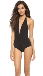 Karla Colletto Low Back Plunge One Piece Swimsuit Black