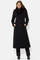 Lauren Ralph Lauren Faux Fur Shawl Collar Long Wool Blend Coat Black