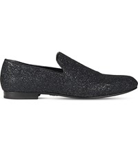Jimmy Choo Sloane Glitter Fabric Slippers Black