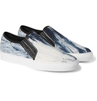 Balmain Leather And Printed Canvas Slip On Sneakers