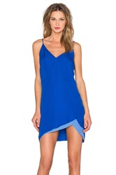 Mason By Michelle Mason Contrast Slip Dress Blue