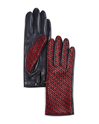 Agnelle Two Tone Braided Leather Gloves Navy Red