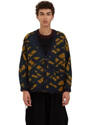 Marvielab Oversized Reversible Jacquard Cardigan Green
