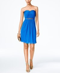 Adrianna Papell Strapless Ruched Dress Royal