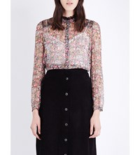 The Kooples Floral Print Silk Chiffon Blouse Multicolor