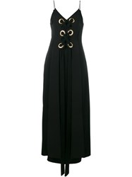Ellery Utopian Sleeveless Lace Up Silk Dress Black