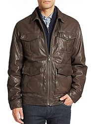 Saks Fifth Avenue Leather Jacket Brown