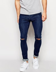 Only And Sons Vintage Wash Jeans With Rips In Skinny Fit Midblue