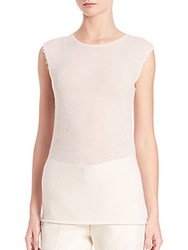 Helmut Lang Raw Edged Cashmere Tee Ivory