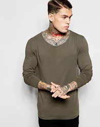 Asos Extreme Muscle Long Sleeve T Shirt With Drape Neck In Green Green
