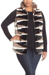 Plus Size Women's Nic Zoe 'Zigzag Faux Fur Vest Multi
