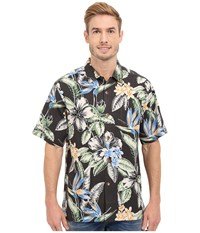 Tommy Bahama Big Island Blooms Tortola Silk Camp Shirt Black Men's Clothing