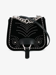 Miu Miu Mini Studded Saddle Bag Black Silver White