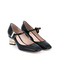 Nicholas Kirkwood Mary Janes With Gold Heels Black Denim