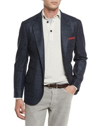 Brunello Cucinelli Plaid Wool Silk Cashmere Two Button Sport Coat Cobalt