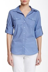 Sandra Ingrish Knit Trim Roll Sleeve Button Down Shirt Blue
