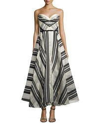Marchesa Notte Strapless Striped Ball Gown Size 8 Black