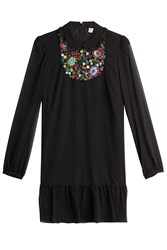 Red Valentino Embroidered Silk Dress Black