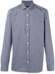 Z Zegna Checked Button Down Shirt Blue